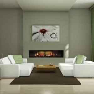 Rahmenloser Breitwand Einbaukamin mit realistischem Flammenbild, in zwei Größen erhältlich.