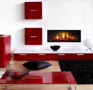 Rahmenloser Breitwand Einbaukamin mit realistischem Flammenbild, in zwei Grössen erhältlich.