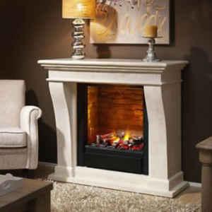 Kleine Ausführung mit großem, hochwertigem Feuereinsatz: Der klassisch-schlichte Elektrokamin mit creme-weiß-marmorierter Fassade bereichert Ihr Wohngefühl.