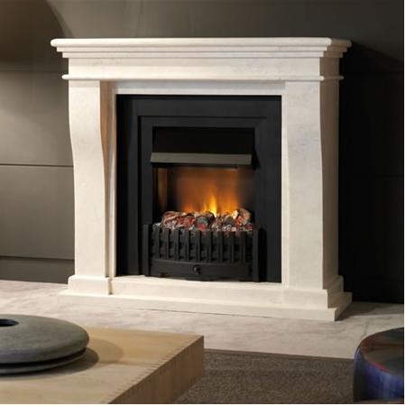 Auch in kleiner Ausführung mit kleinem Feuereinsatz: Der klassisch-schlichte Elektrokamin mit creme-weiß-marmorierter Fassade bereichert Ihr Wohngefühl.