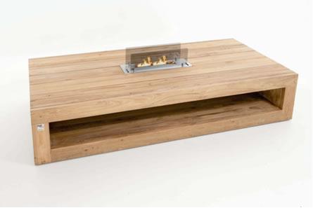 Bio flame feuertisch sun salon tisch in teak holz for Holz salontisch