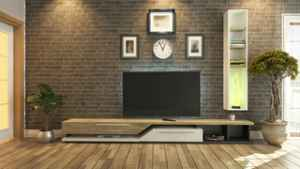 3D rendering tv room, salon or living room with brick wall plant and tv design by sedat seven